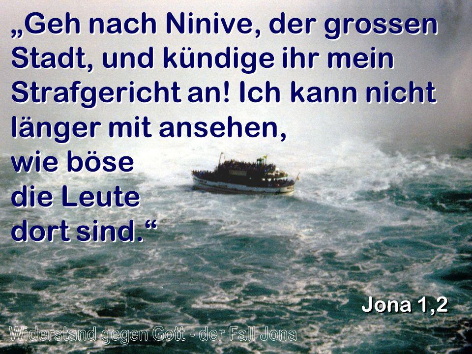 Geh nach Ninive, der grossen Stadt, und kündige ihr mein Strafgericht an! Ich kann nicht länger mit ansehen, wie böse die Leute dort sind. Jona 1,2