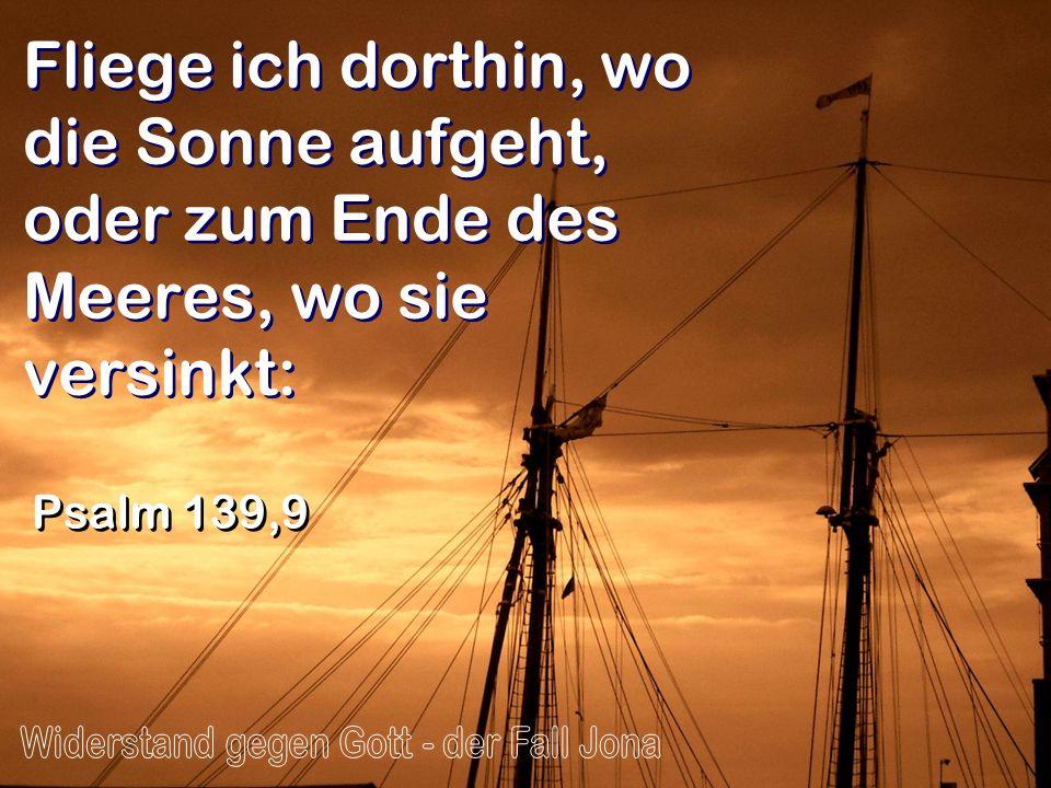 Fliege ich dorthin, wo die Sonne aufgeht, oder zum Ende des Meeres, wo sie versinkt: Psalm 139,9