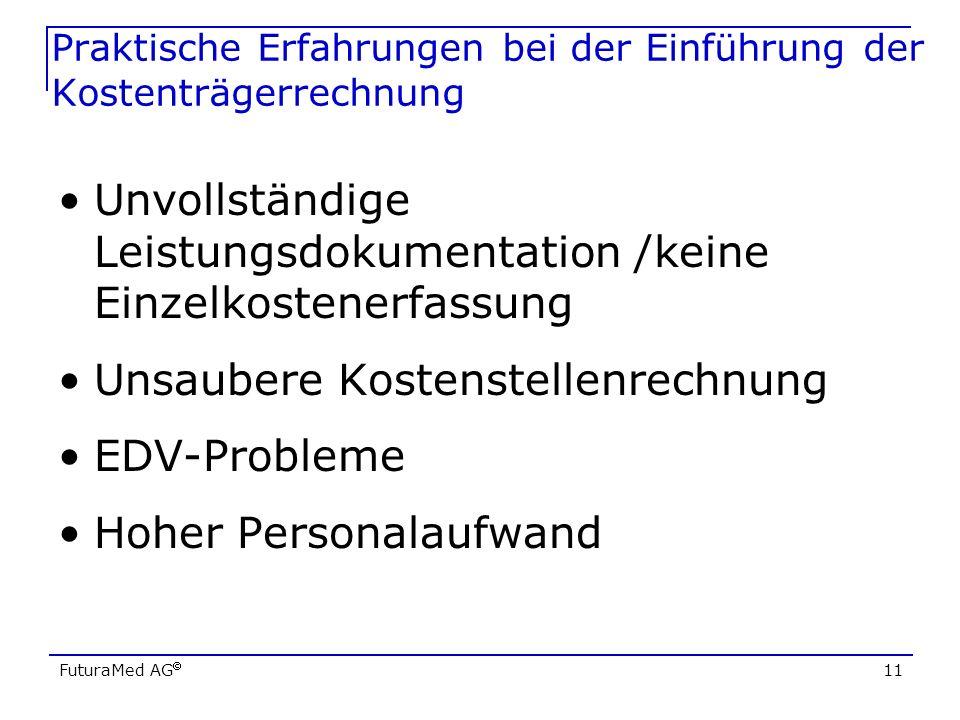 FuturaMed AG 11 Praktische Erfahrungen bei der Einführung der Kostenträgerrechnung Unvollständige Leistungsdokumentation /keine Einzelkostenerfassung
