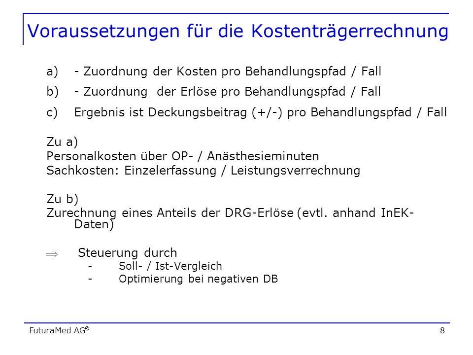 FuturaMed AG 8 Voraussetzungen für die Kostenträgerrechnung a)- Zuordnung der Kosten pro Behandlungspfad / Fall b)- Zuordnung der Erlöse pro Behandlun