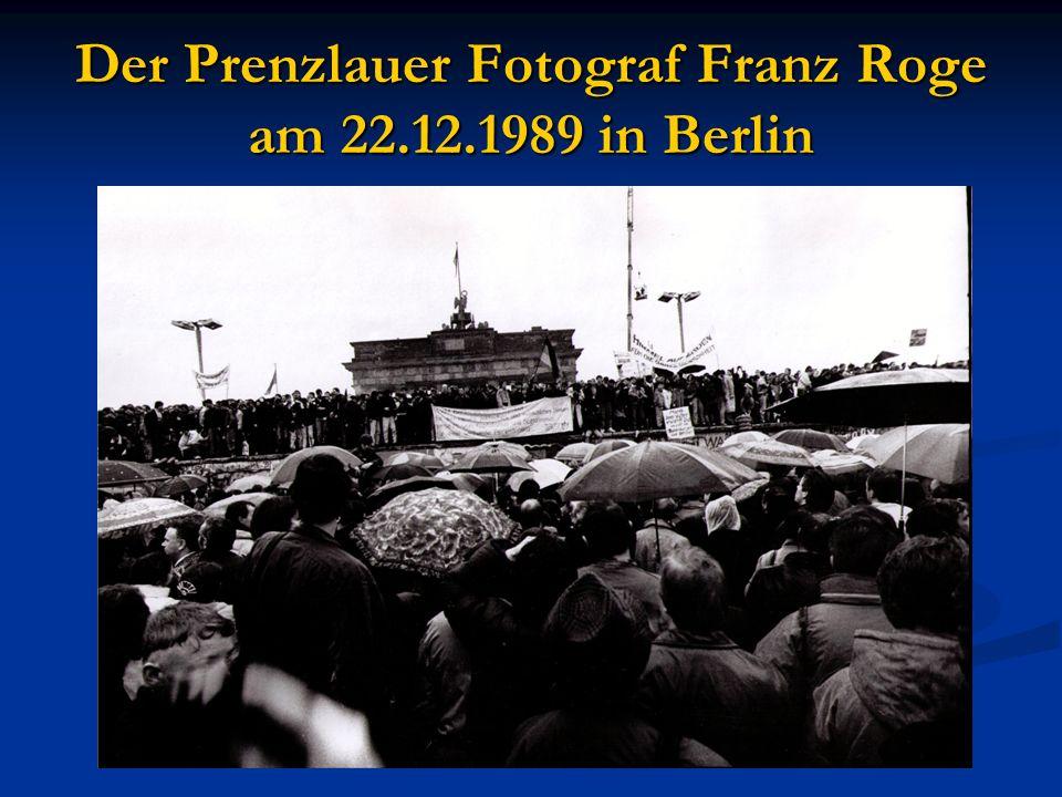 Der Prenzlauer Fotograf Franz Roge am 22.12.1989 in Berlin