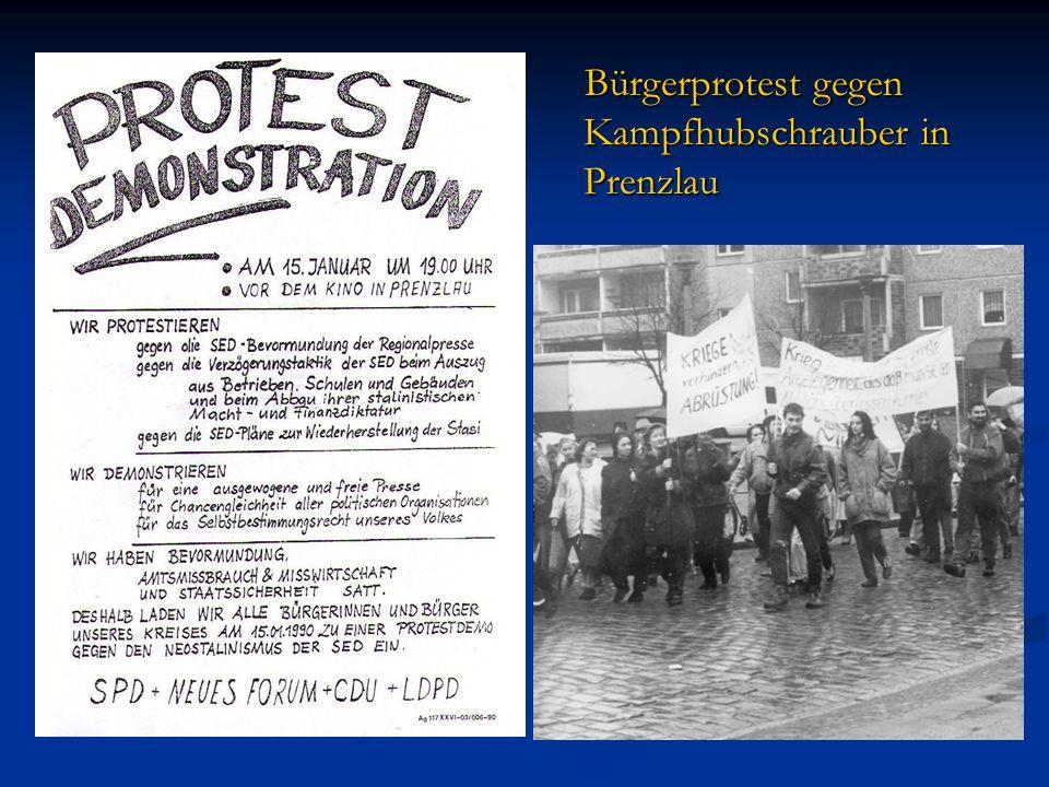 Bürgerprotest gegen Kampfhubschrauber in Prenzlau