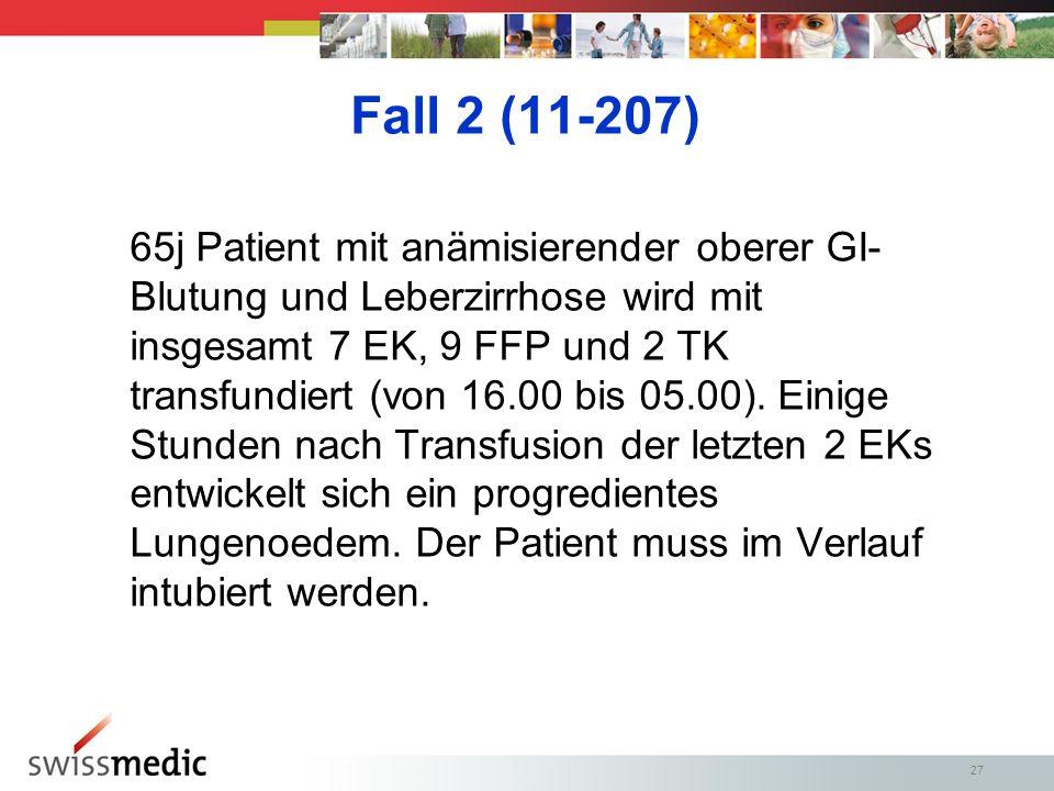 27 Fall 2 (11-207) 65j Patient mit anämisierender oberer GI- Blutung und Leberzirrhose wird mit insgesamt 7 EK, 9 FFP und 2 TK transfundiert (von 16.00 bis 05.00).