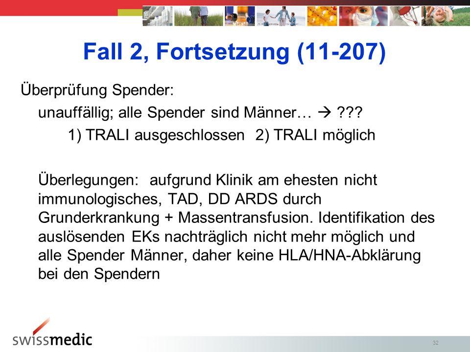 32 Fall 2, Fortsetzung (11-207) Überprüfung Spender: unauffällig; alle Spender sind Männer… ??.