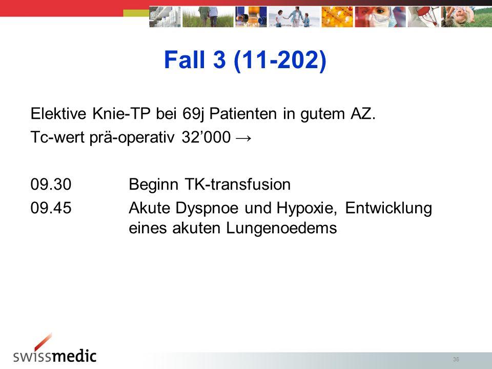 36 Fall 3 (11-202) Elektive Knie-TP bei 69j Patienten in gutem AZ.