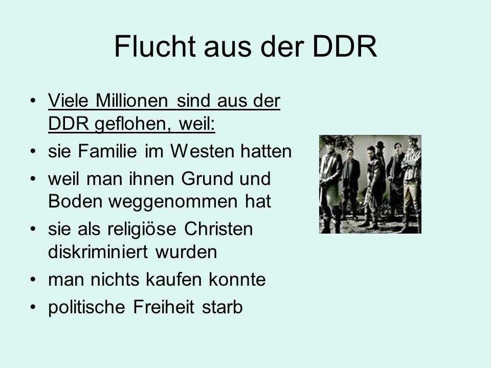 Flucht aus der DDR Viele Millionen sind aus der DDR geflohen, weil: sie Familie im Westen hatten weil man ihnen Grund und Boden weggenommen hat sie al