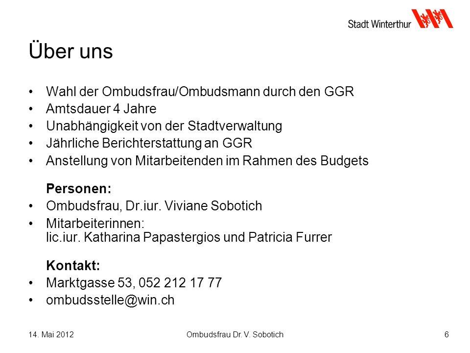 14. Mai 2012Ombudsfrau Dr. V.