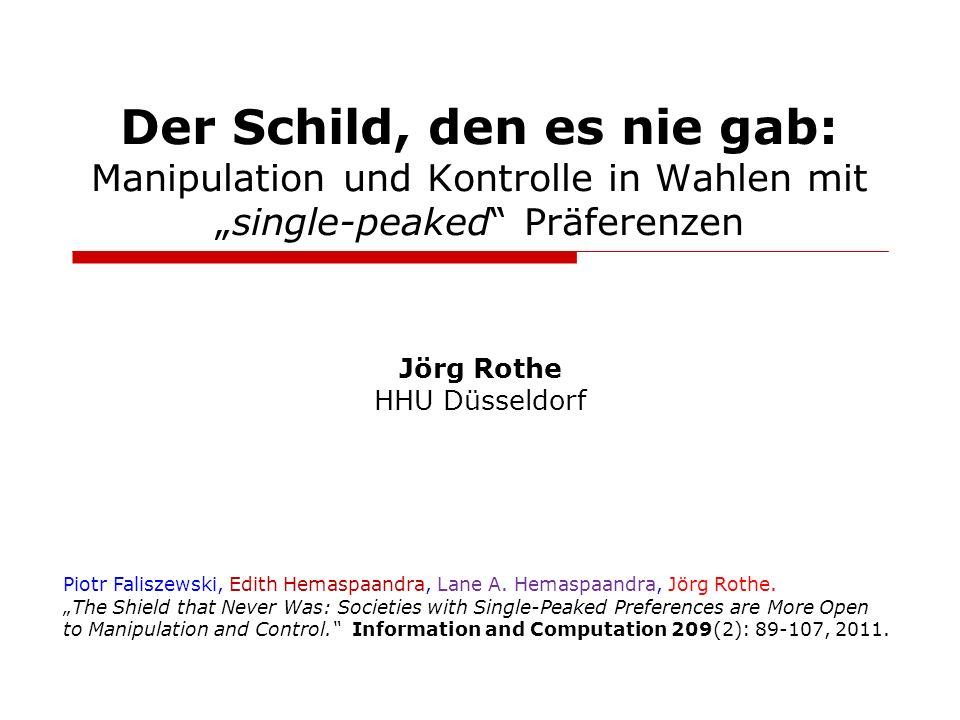 Der Schild, den es nie gab: Manipulation und Kontrolle in Wahlen mitsingle-peaked Präferenzen Jörg Rothe HHU Düsseldorf Piotr Faliszewski, Edith Hemas