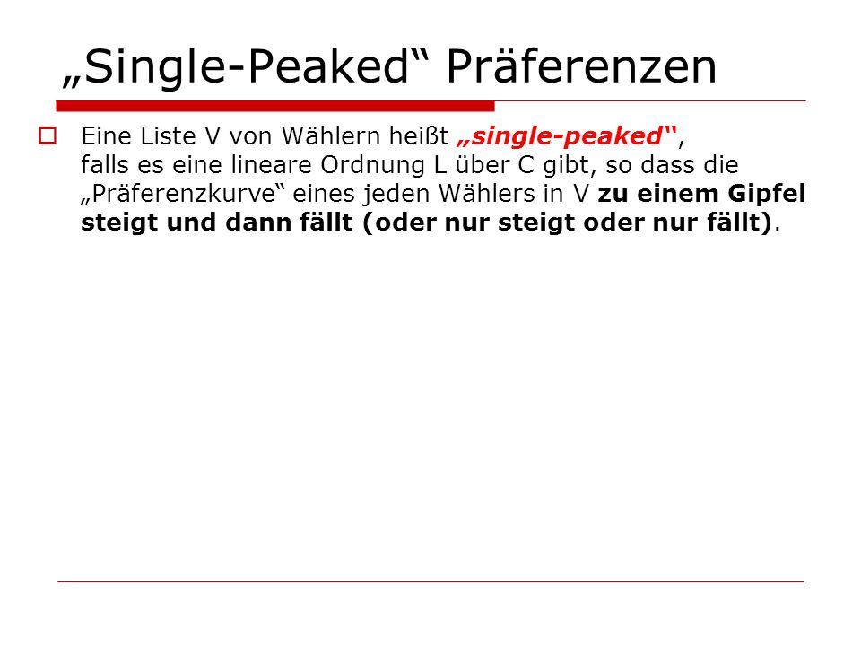 Single-Peaked Präferenzen Eine Liste V von Wählern heißt single-peaked, falls es eine lineare Ordnung L über C gibt, so dass die Präferenzkurve eines