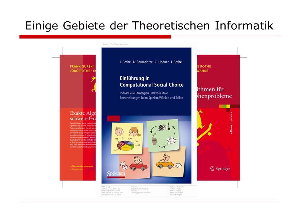 Computational Social Choice Bidirektionaler Transfer: Social-Choice-Theorie Informatik: Anwendungen in Künstlicher Intelligenz Wählen in Multi-Agenten-Systemen Entscheidungsfindung mit mehreren Kriterien Meta-Suchmaschinen etc.