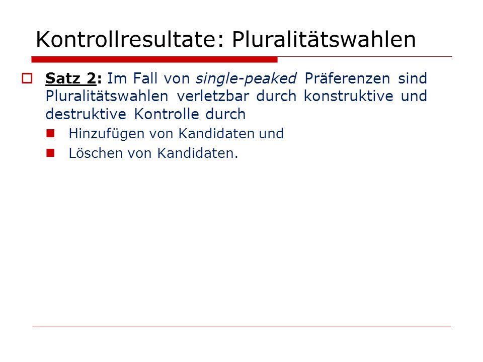 Kontrollresultate: Pluralitätswahlen Satz 2: Im Fall von single-peaked Präferenzen sind Pluralitätswahlen verletzbar durch konstruktive und destruktiv