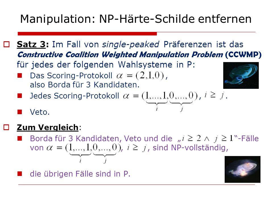 Manipulation: NP-Härte-Schilde entfernen Satz 3: Im Fall von single-peaked Präferenzen ist das Constructive Coalition Weighted Manipulation Problem (C