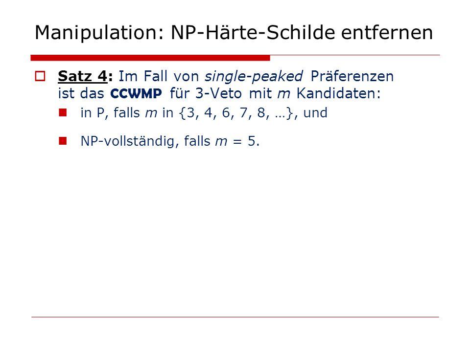 Manipulation: NP-Härte-Schilde entfernen Satz 4: Im Fall von single-peaked Präferenzen ist das CCWMP für 3-Veto mit m Kandidaten: in P, falls m in {3,