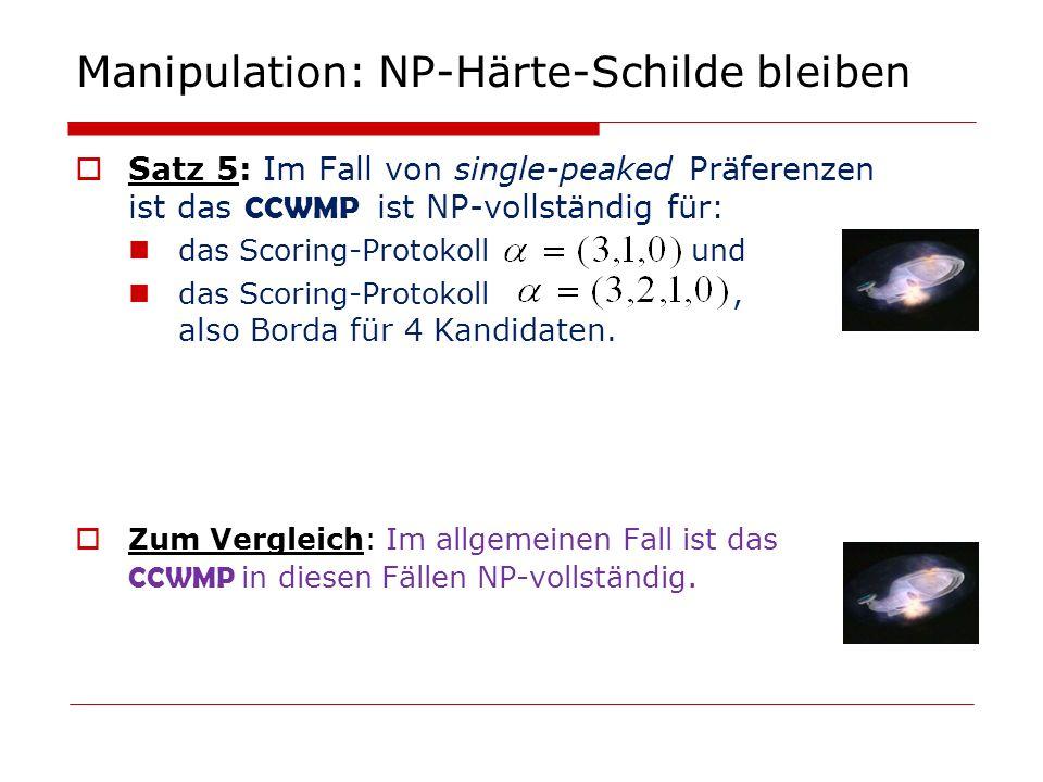 Manipulation: NP-Härte-Schilde bleiben Satz 5: Im Fall von single-peaked Präferenzen ist das CCWMP ist NP-vollständig für: das Scoring-Protokoll und d