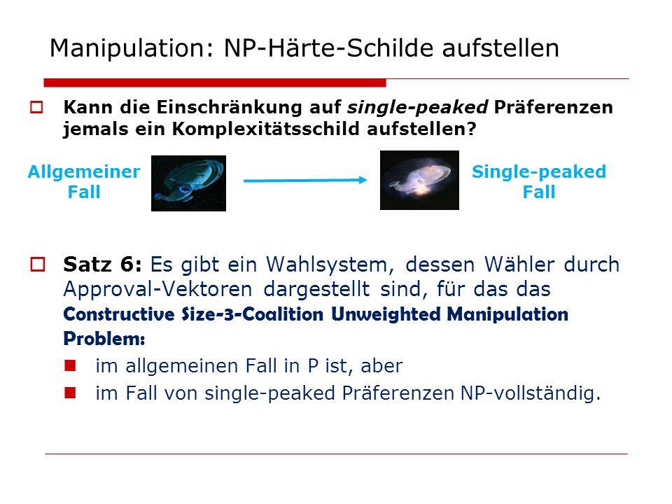 Manipulation: NP-Härte-Schilde aufstellen Kann die Einschränkung auf single-peaked Präferenzen jemals ein Komplexitätsschild aufstellen? Satz 6: Es gi