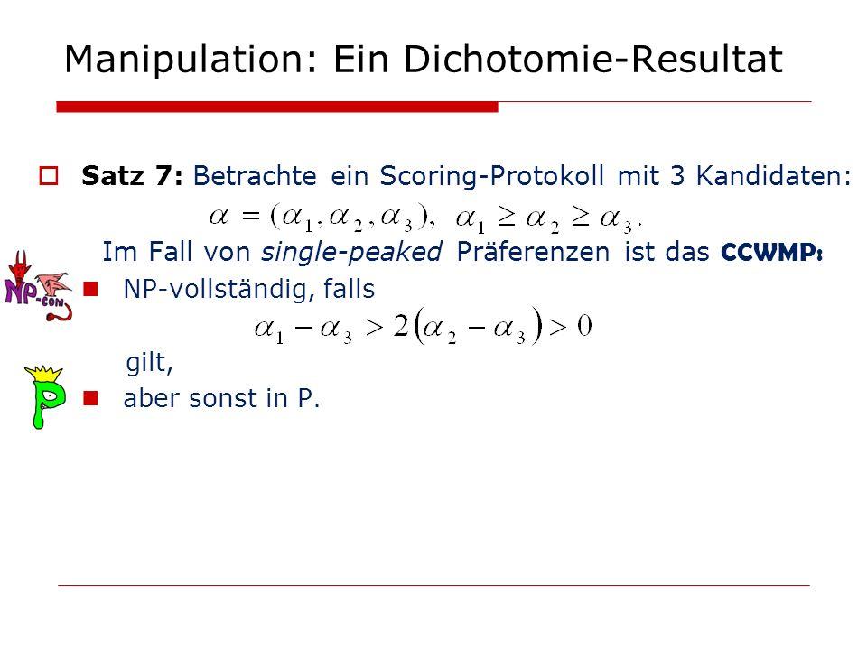 Manipulation: Ein Dichotomie-Resultat Satz 7: Betrachte ein Scoring-Protokoll mit 3 Kandidaten: Im Fall von single-peaked Präferenzen ist das CCWMP: N