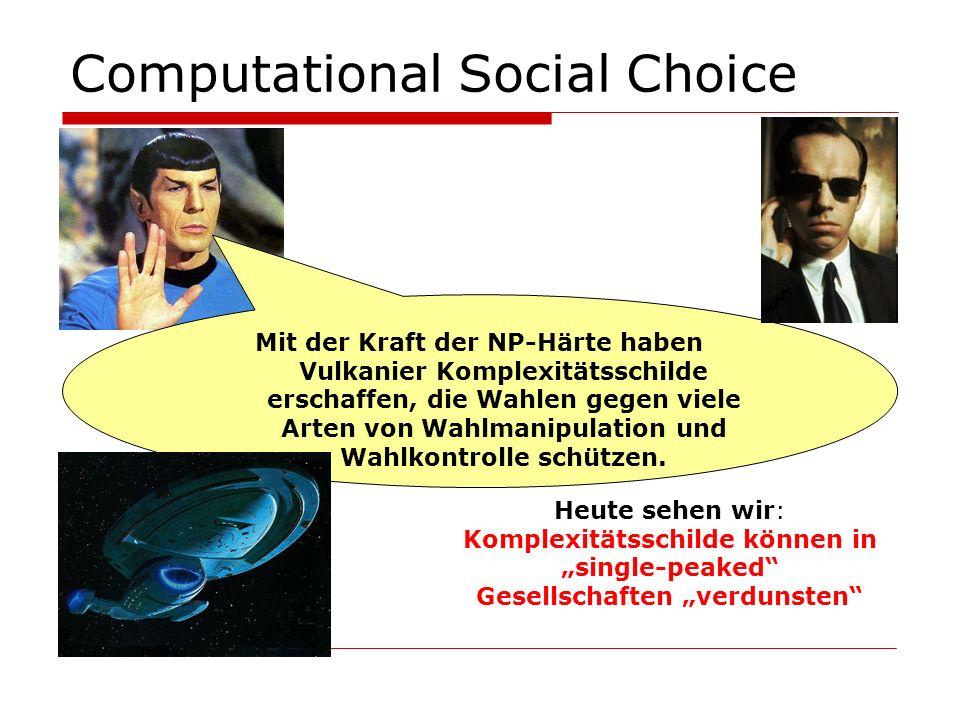 Computational Social Choice Heute sehen wir: Komplexitätsschilde können in single-peaked Gesellschaften verdunsten
