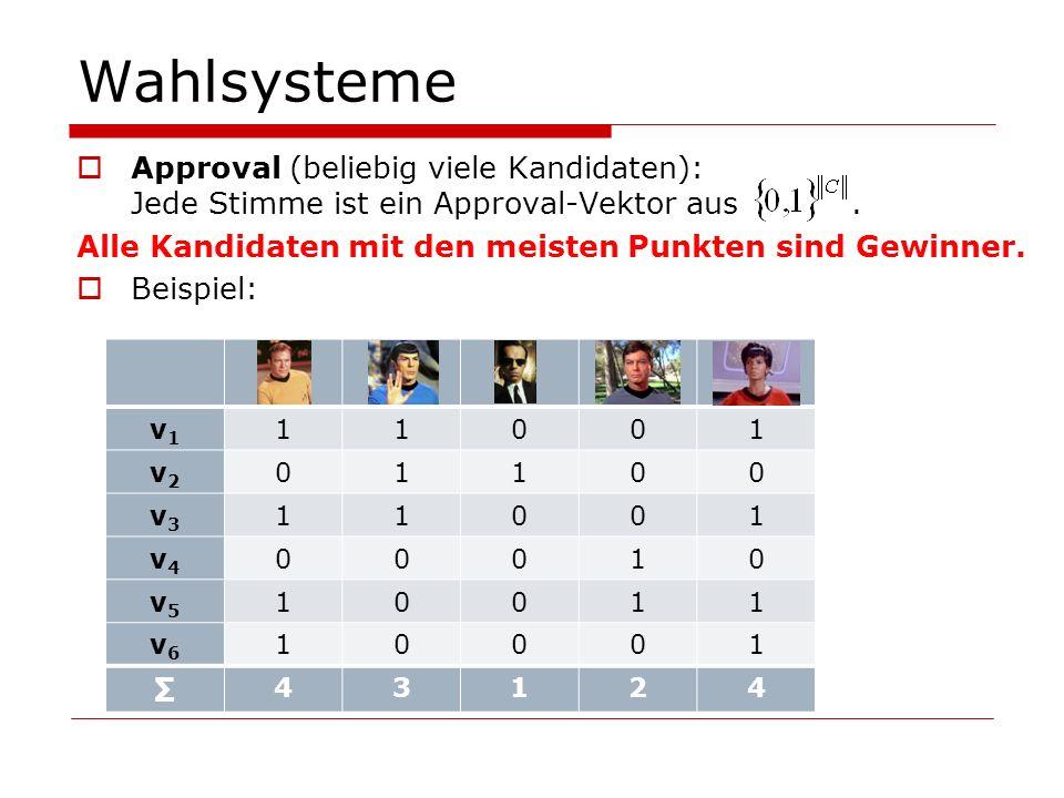 Wahlsysteme Approval (beliebig viele Kandidaten): Jede Stimme ist ein Approval-Vektor aus. Alle Kandidaten mit den meisten Punkten sind Gewinner. Beis