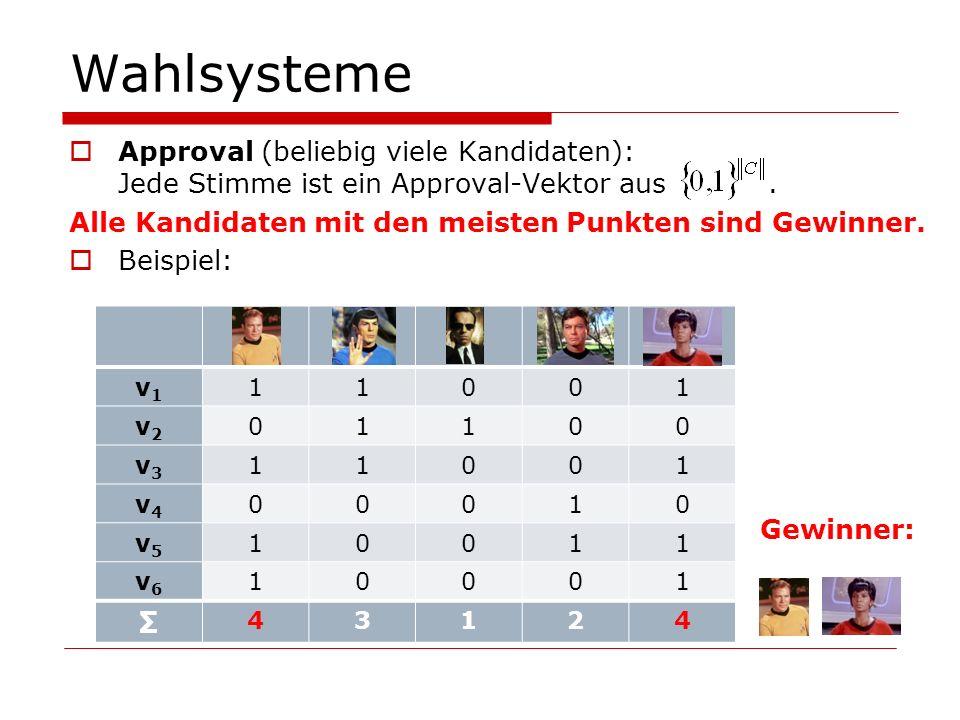 Manipulation: NP-Härte-Schilde entfernen Satz 4: Im Fall von single-peaked Präferenzen ist das CCWMP für 3-Veto mit m Kandidaten: in P, falls m in {3, 4, 6, 7, 8, …}, und NP-vollständig, falls m = 5.