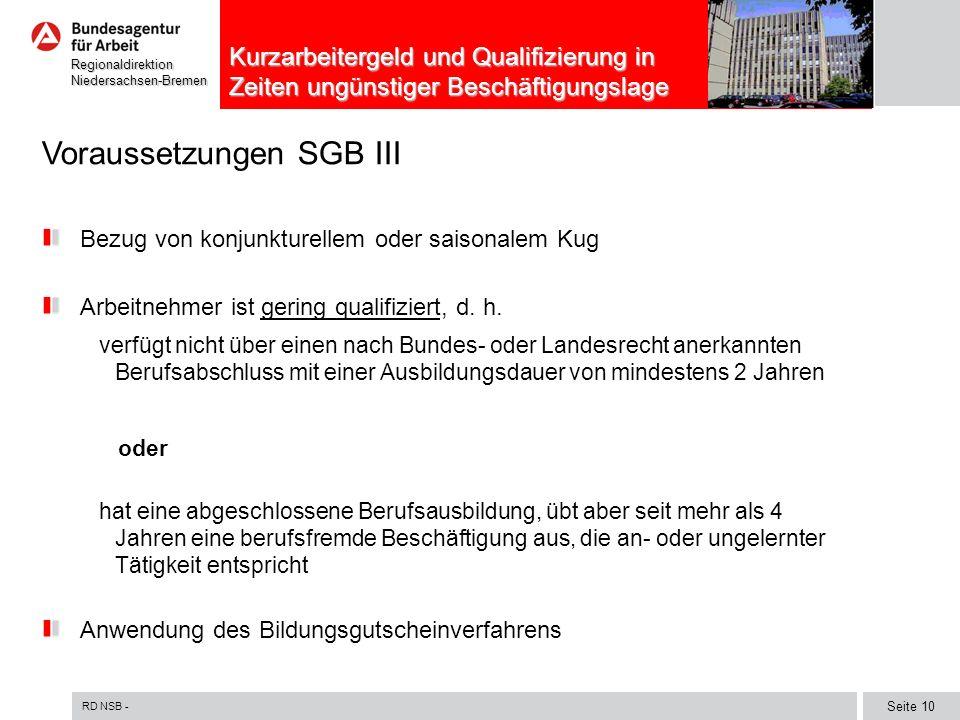 RD NSB - Seite 10 RegionaldirektionNiedersachsen-Bremen Kurzarbeitergeld und Qualifizierung in Zeiten ungünstiger Beschäftigungslage Voraussetzungen S