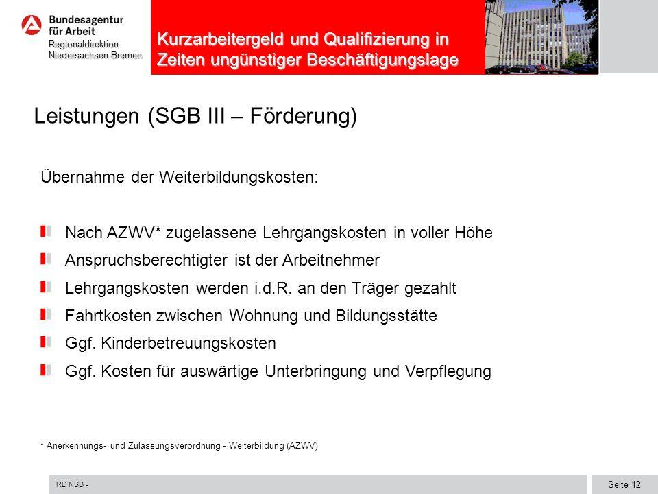 RD NSB - Seite 12 RegionaldirektionNiedersachsen-Bremen Kurzarbeitergeld und Qualifizierung in Zeiten ungünstiger Beschäftigungslage Leistungen (SGB I