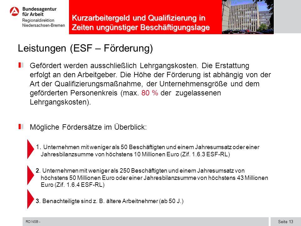 RD NSB - Seite 13 RegionaldirektionNiedersachsen-Bremen Kurzarbeitergeld und Qualifizierung in Zeiten ungünstiger Beschäftigungslage Leistungen (ESF – Förderung) Gefördert werden ausschließlich Lehrgangskosten.