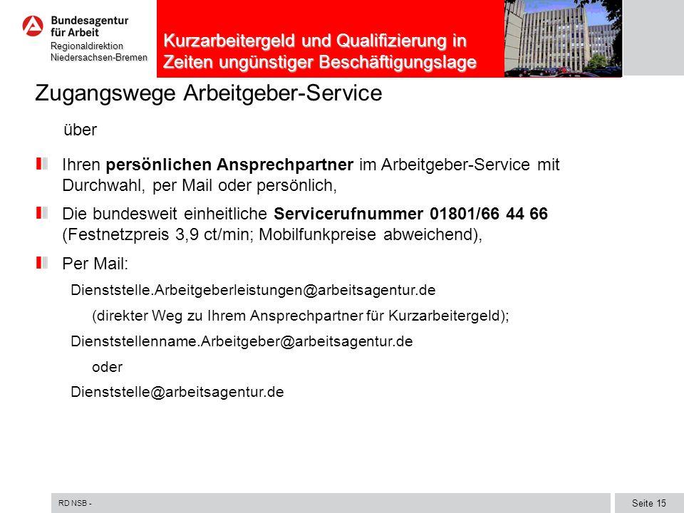 RD NSB - Seite 15 RegionaldirektionNiedersachsen-Bremen Kurzarbeitergeld und Qualifizierung in Zeiten ungünstiger Beschäftigungslage Zugangswege Arbei
