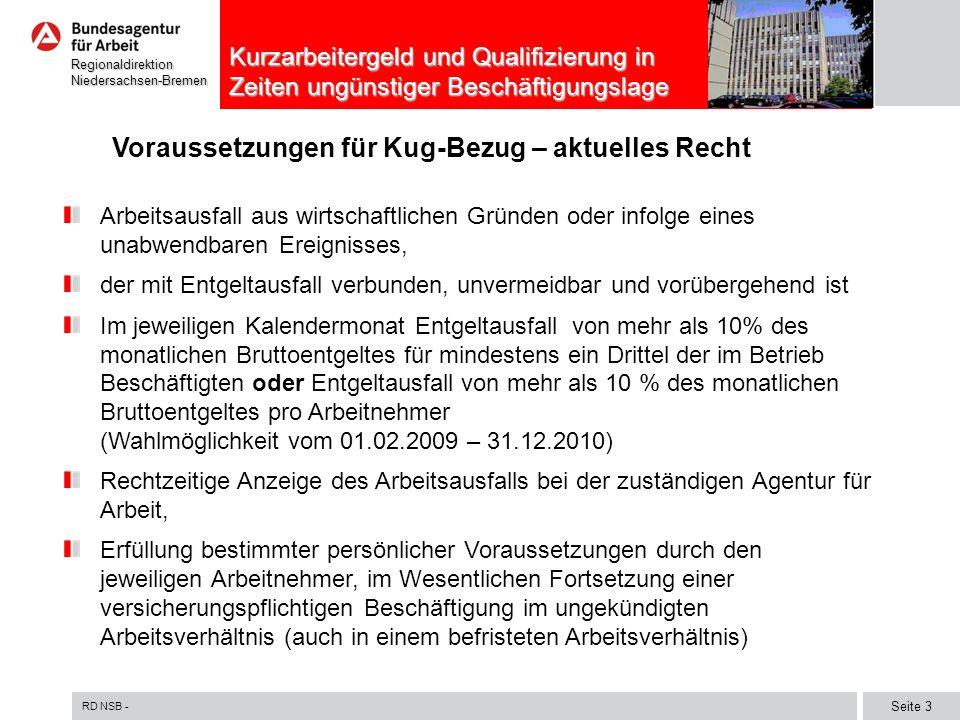 RD NSB - Seite 3 RegionaldirektionNiedersachsen-Bremen Kurzarbeitergeld und Qualifizierung in Zeiten ungünstiger Beschäftigungslage Voraussetzungen fü