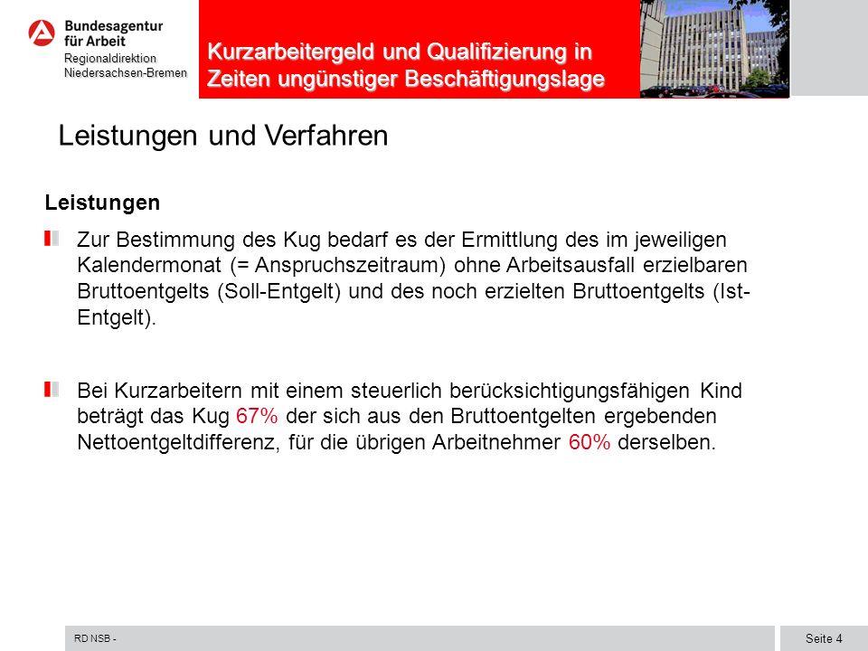 RD NSB - Seite 5 RegionaldirektionNiedersachsen-Bremen Kurzarbeitergeld und Qualifizierung in Zeiten ungünstiger Beschäftigungslage Leistungen und Verfahren Verfahren Kug ist in einem zweistufigen Verwaltungsverfahren zu gewähren: Die Anzeige über Arbeitsausfall ist schriftlich bei der Agentur für Arbeit, in deren Bezirk der Betrieb liegt, zu erstatten.