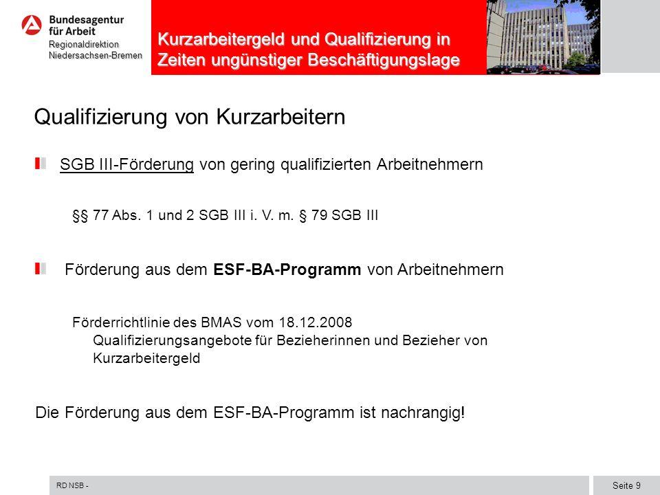 RD NSB - Seite 10 RegionaldirektionNiedersachsen-Bremen Kurzarbeitergeld und Qualifizierung in Zeiten ungünstiger Beschäftigungslage Voraussetzungen SGB III Bezug von konjunkturellem oder saisonalem Kug Arbeitnehmer ist gering qualifiziert, d.