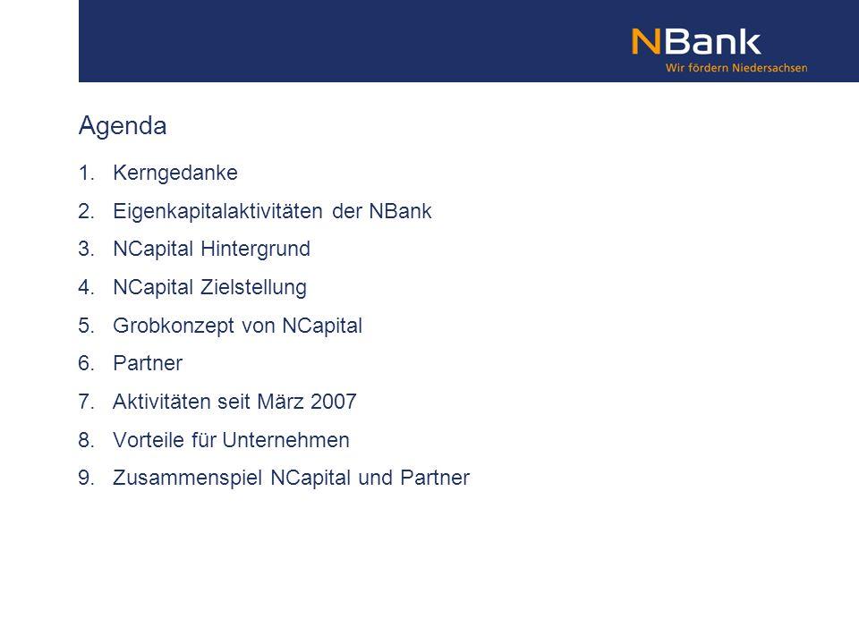 Agenda 1. Kerngedanke 2. Eigenkapitalaktivitäten der NBank 3. NCapital Hintergrund 4. NCapital Zielstellung 5. Grobkonzept von NCapital 6. Partner 7.