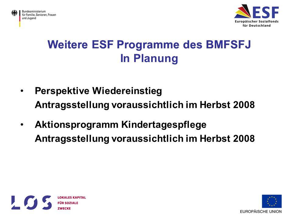 Weitere ESF Programme des BMFSFJ In Planung Perspektive Wiedereinstieg Antragsstellung voraussichtlich im Herbst 2008 Aktionsprogramm Kindertagespfleg