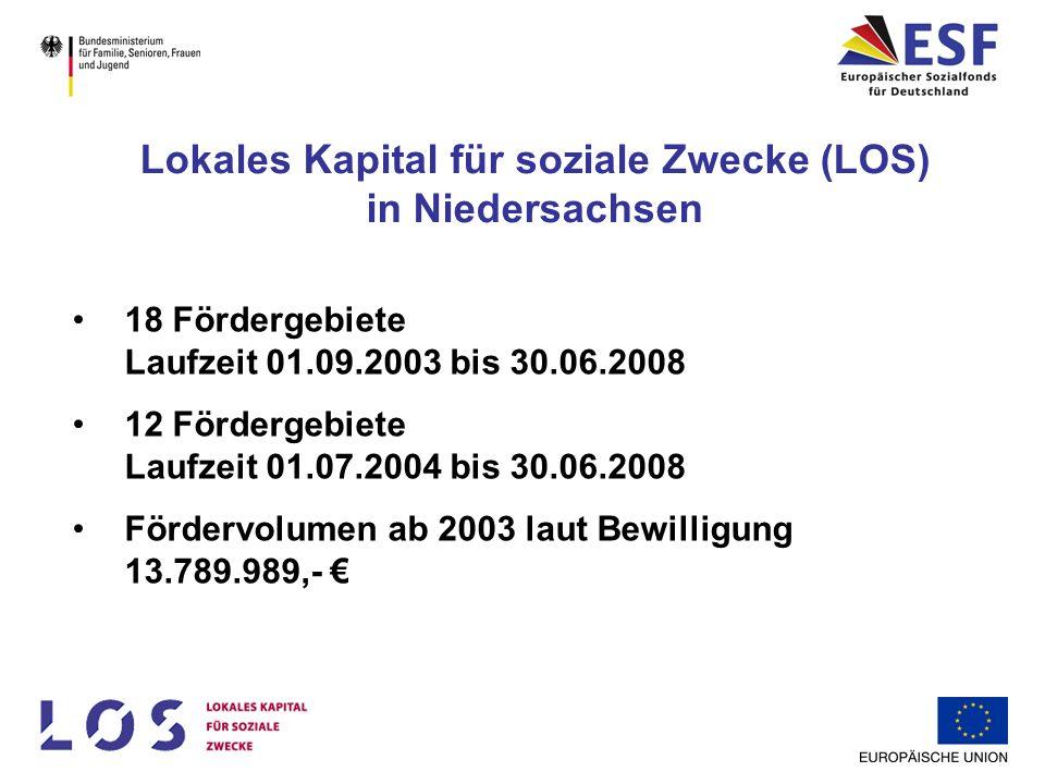 18 Fördergebiete Laufzeit 01.09.2003 bis 30.06.2008 12 Fördergebiete Laufzeit 01.07.2004 bis 30.06.2008 Fördervolumen ab 2003 laut Bewilligung 13.789.