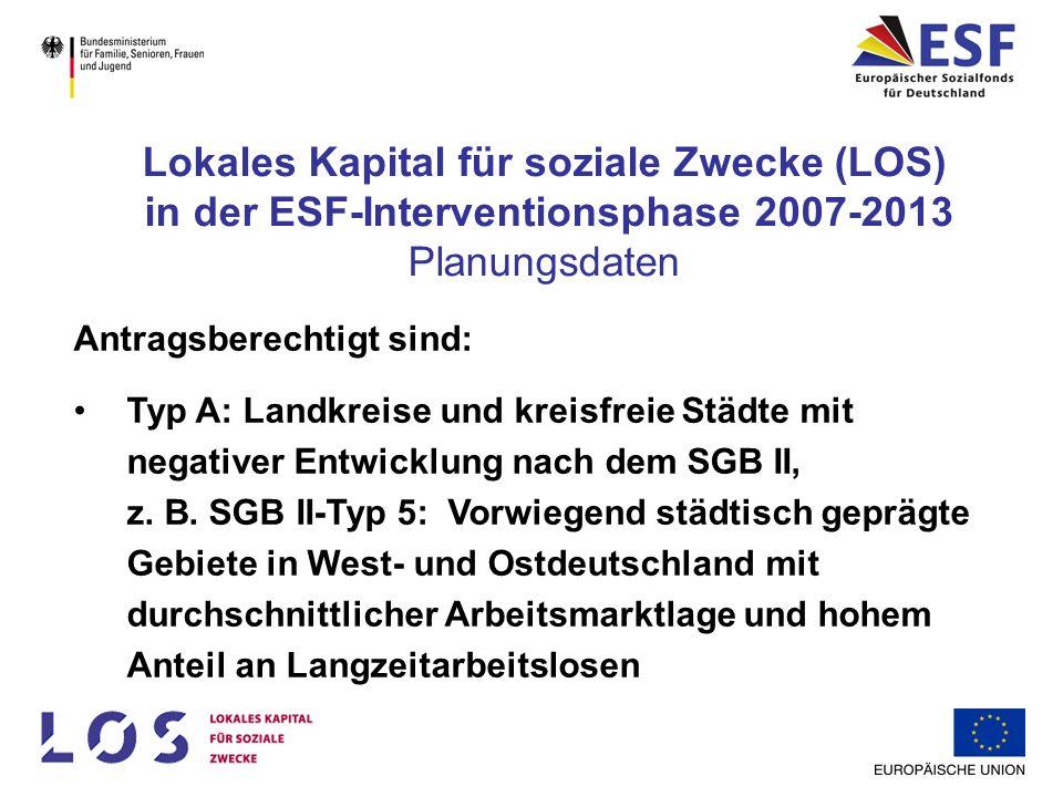 Antragsberechtigt sind: Typ B: Landkreise und kreisfreie Städte mit positiver Entwicklung nach dem SGB II z.