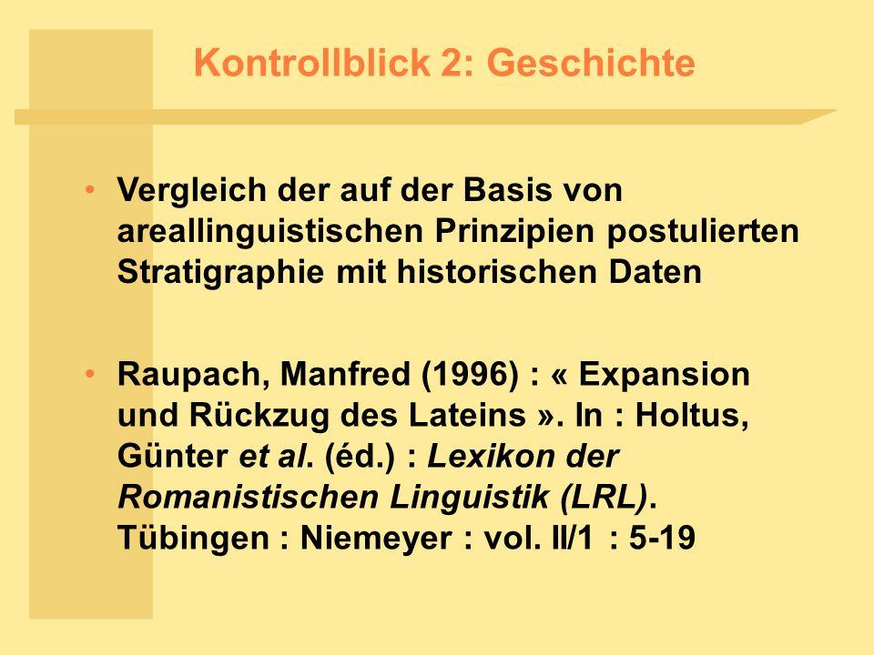 Kontrollblick 2: Geschichte Vergleich der auf der Basis von areallinguistischen Prinzipien postulierten Stratigraphie mit historischen Daten Raupach, Manfred (1996) : « Expansion und Rückzug des Lateins ».