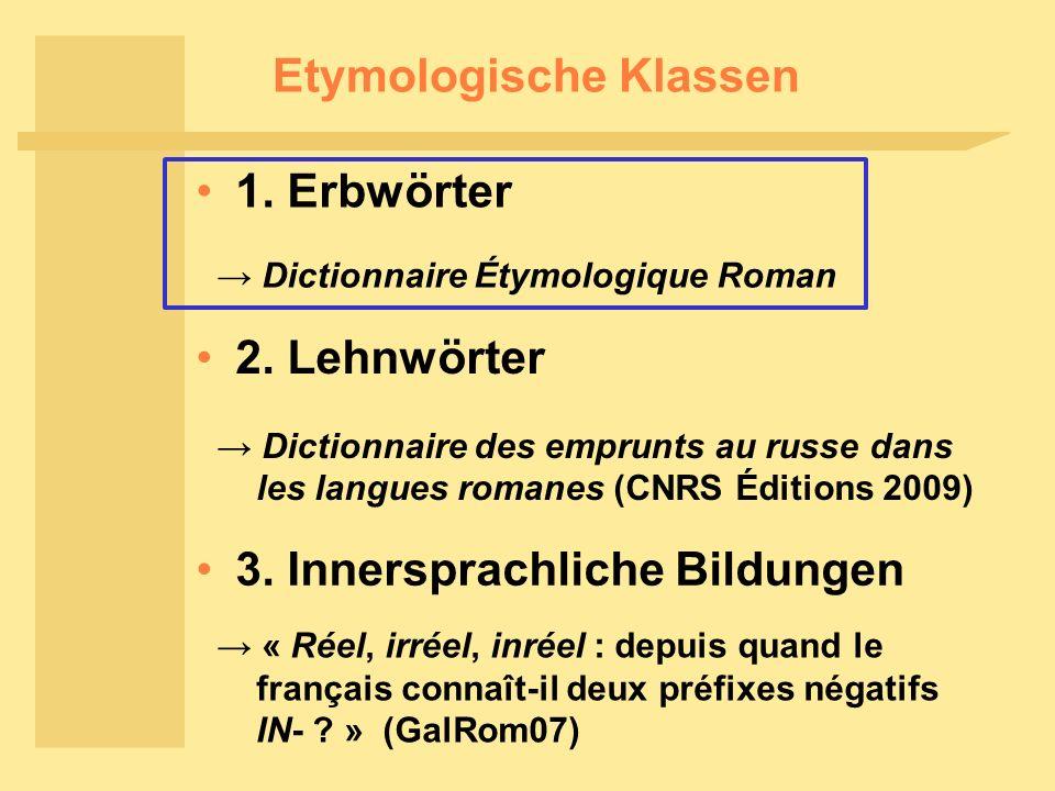 Etymologische Klassen 1.Erbwörter 2. Lehnwörter 3.
