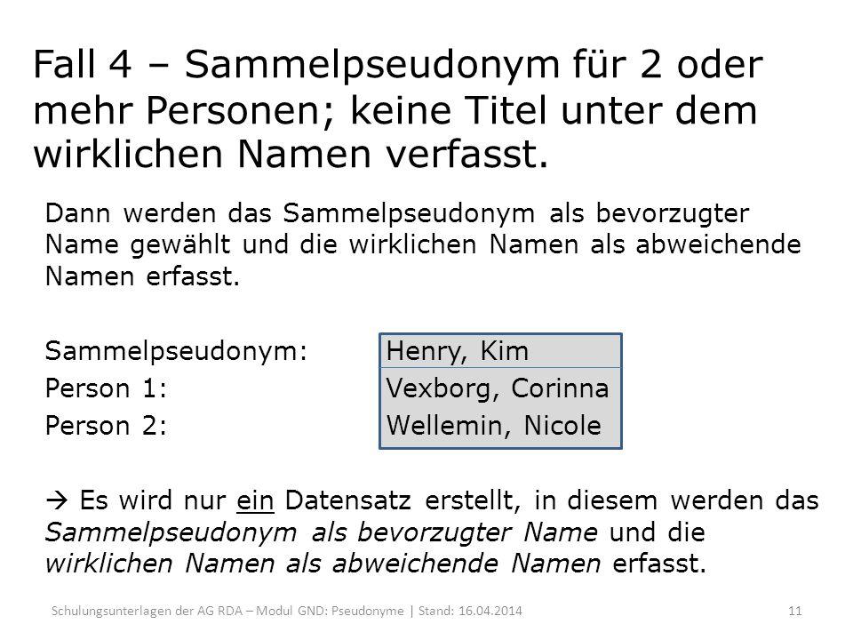 Fall 4 – Sammelpseudonym für 2 oder mehr Personen; keine Titel unter dem wirklichen Namen verfasst.