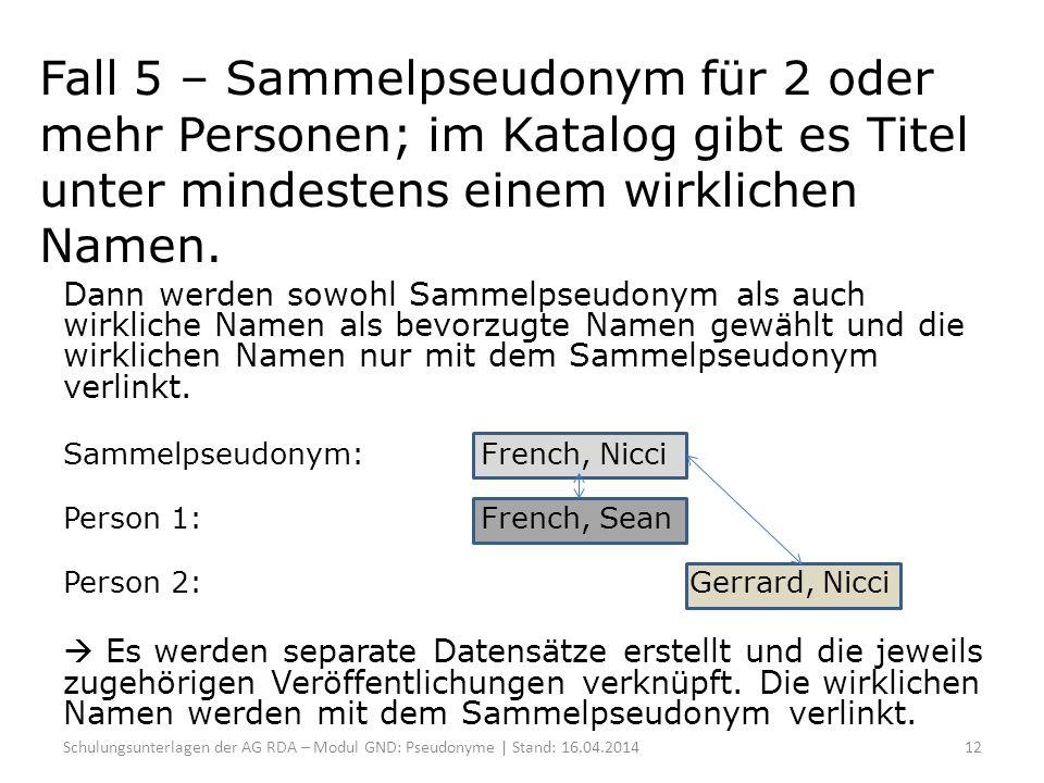 Fall 5 – Sammelpseudonym für 2 oder mehr Personen; im Katalog gibt es Titel unter mindestens einem wirklichen Namen.