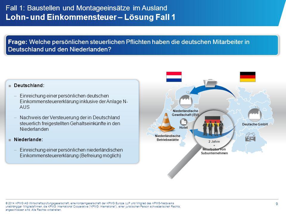 10 © 2014 KPMG AG Wirtschaftsprüfungsgesellschaft, eine Konzerngesellschaft der KPMG Europe LLP und Mitglied des KPMG-Netzwerks unabhängiger Mitgliedsfirmen, die KPMG International Cooperative ( KPMG International ), einer juristischen Person schweizerischen Rechts, angeschlossen sind.