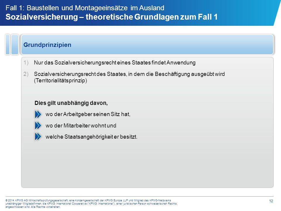 12 © 2014 KPMG AG Wirtschaftsprüfungsgesellschaft, eine Konzerngesellschaft der KPMG Europe LLP und Mitglied des KPMG-Netzwerks unabhängiger Mitglieds