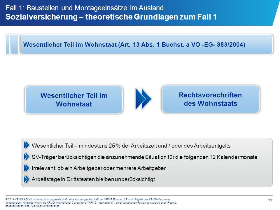 15 © 2014 KPMG AG Wirtschaftsprüfungsgesellschaft, eine Konzerngesellschaft der KPMG Europe LLP und Mitglied des KPMG-Netzwerks unabhängiger Mitglieds