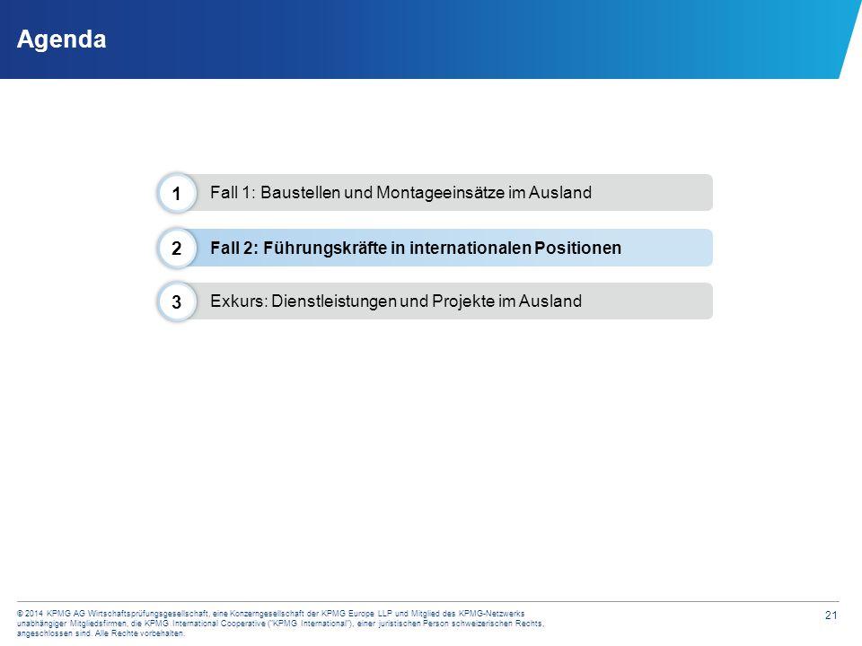 21 © 2014 KPMG AG Wirtschaftsprüfungsgesellschaft, eine Konzerngesellschaft der KPMG Europe LLP und Mitglied des KPMG-Netzwerks unabhängiger Mitglieds
