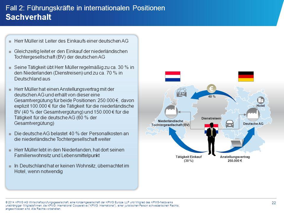 22 © 2014 KPMG AG Wirtschaftsprüfungsgesellschaft, eine Konzerngesellschaft der KPMG Europe LLP und Mitglied des KPMG-Netzwerks unabhängiger Mitglieds
