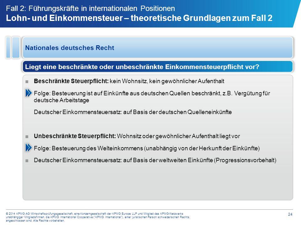 24 © 2014 KPMG AG Wirtschaftsprüfungsgesellschaft, eine Konzerngesellschaft der KPMG Europe LLP und Mitglied des KPMG-Netzwerks unabhängiger Mitglieds
