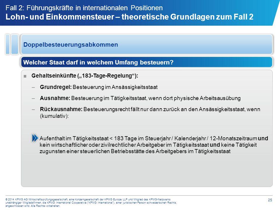25 © 2014 KPMG AG Wirtschaftsprüfungsgesellschaft, eine Konzerngesellschaft der KPMG Europe LLP und Mitglied des KPMG-Netzwerks unabhängiger Mitglieds