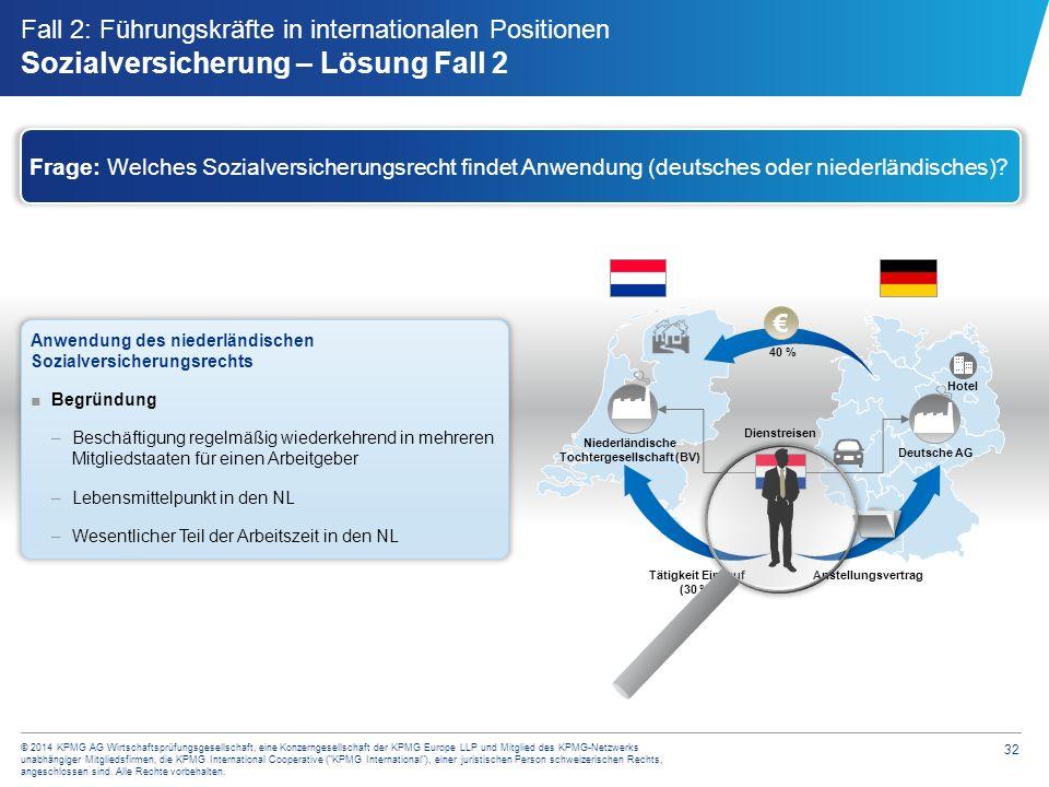 32 © 2014 KPMG AG Wirtschaftsprüfungsgesellschaft, eine Konzerngesellschaft der KPMG Europe LLP und Mitglied des KPMG-Netzwerks unabhängiger Mitglieds