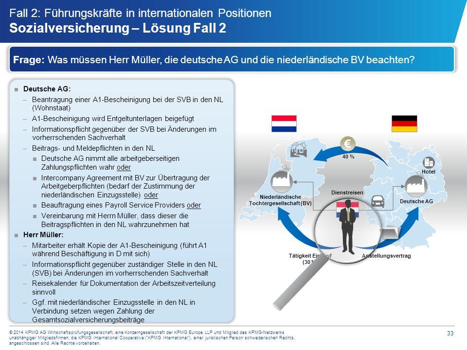 33 © 2014 KPMG AG Wirtschaftsprüfungsgesellschaft, eine Konzerngesellschaft der KPMG Europe LLP und Mitglied des KPMG-Netzwerks unabhängiger Mitglieds