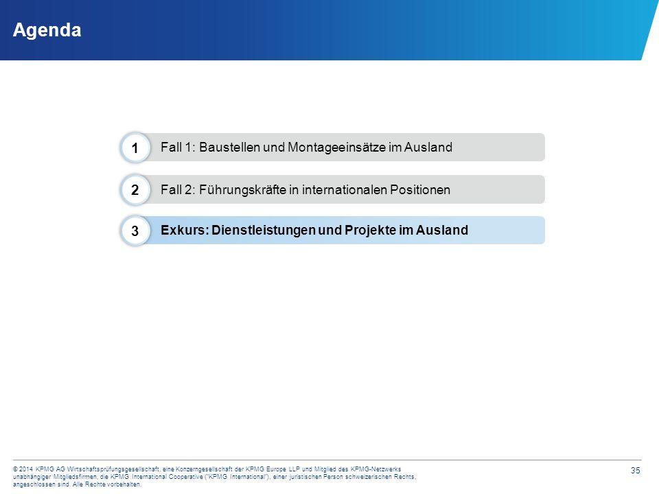 35 © 2014 KPMG AG Wirtschaftsprüfungsgesellschaft, eine Konzerngesellschaft der KPMG Europe LLP und Mitglied des KPMG-Netzwerks unabhängiger Mitglieds
