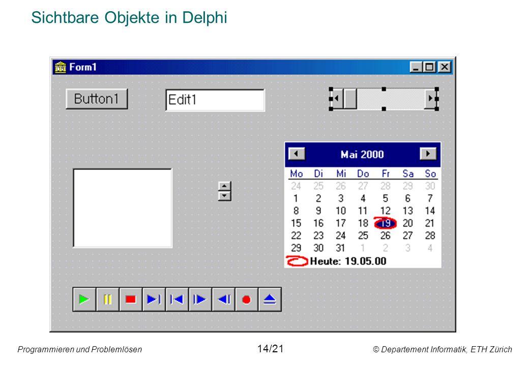 Programmieren und Problemlösen © Departement Informatik, ETH Zürich Sichtbare Objekte in Delphi 14/21