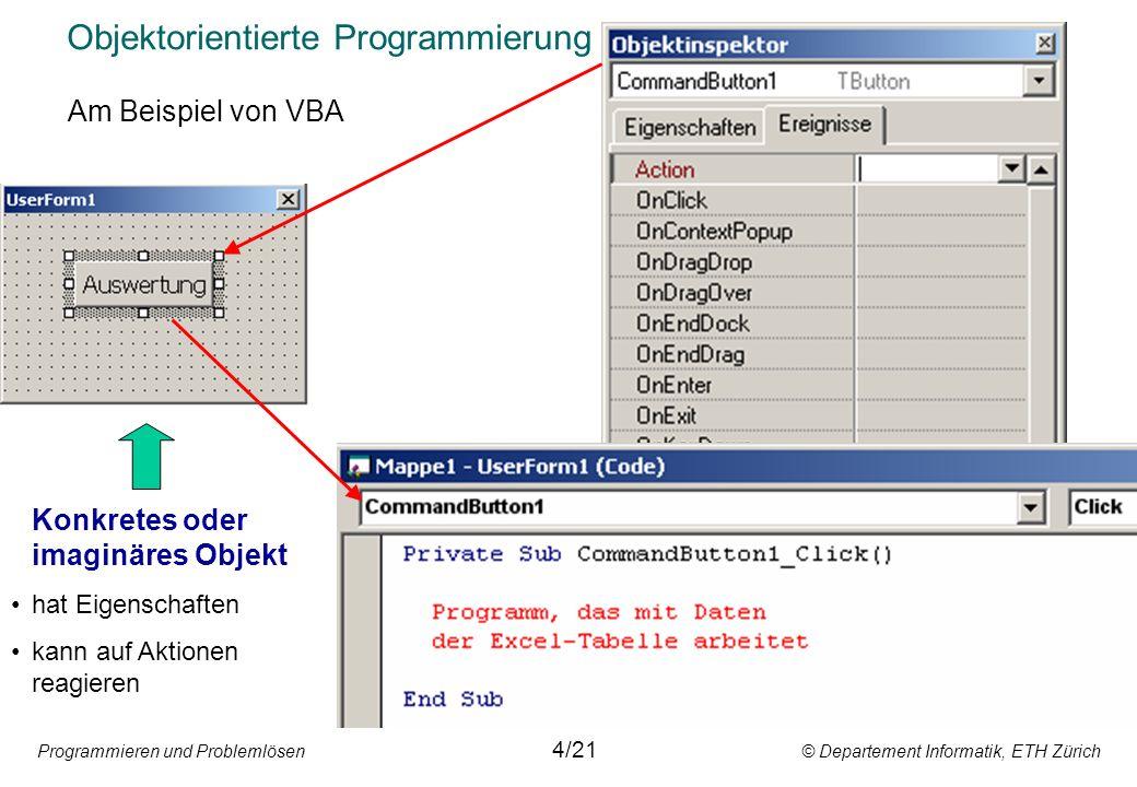 Programmieren und Problemlösen © Departement Informatik, ETH Zürich Objektorientierte Programmierung 4/21 Konkretes oder imaginäres Objekt hat Eigensc